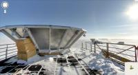 Google Streetview of the Dark Sector Lab roof. The Keck Array CMB telescope and Amundsen-Scott South Pole Station can be seen behind the BICEP2 ground shield (<i>Google</i>)